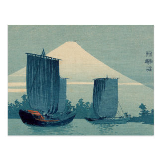 Sailboats and Mount Fuji - Uehara Konen Postcard