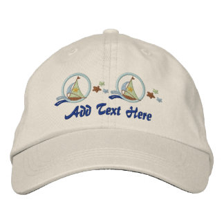 Sailboats and Stars Embroidered Hat