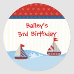 Sailboats and Whale Birthday Sticker