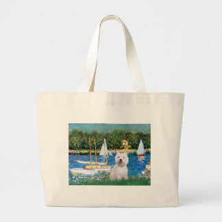 Sailboats at Argenteuil  - Westie 2 Tote Bags