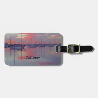 Sailboats at Sunset Luggage Tag with Leather Strap