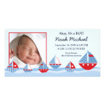 Sailboats Baby Boy Birth Annoucement Photo Card