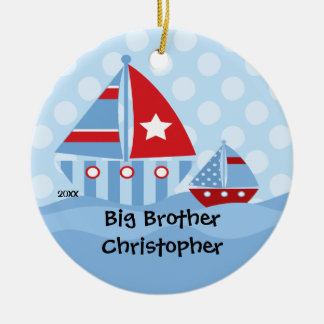 Sailboats Big & Little Brother Christmas Ornament