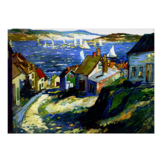 Sailboats by the Harbor, fine art painting Poster