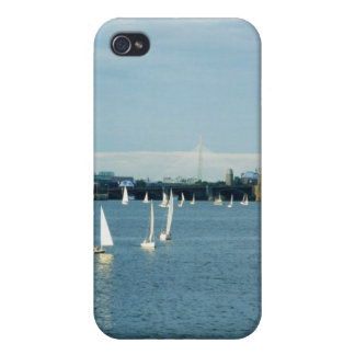 Sailboats in a river, Charles River, Boston, 2 iPhone 4 Cover