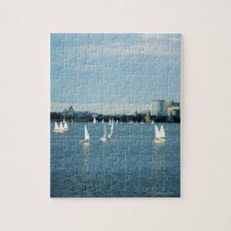Sailboats in a river, Charles River, Boston, 2 Jigsaw Puzzle