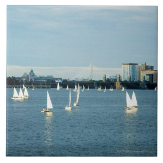 Sailboats in a river, Charles River, Boston, 2 Large Square Tile