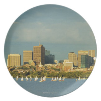 Sailboats in a river, Charles River, Boston, Plate