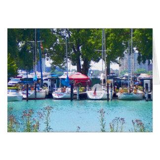Sailboats In Dock Card