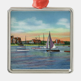 Sailboats in Lewis Bay, Englewood Beach View Silver-Colored Square Decoration