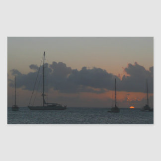 Sailboats in Sunset Tropical Seascape Rectangular Sticker