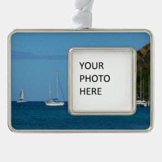 Sailboats in the Bay White and Blue Nautical Silver Plated Framed Ornament