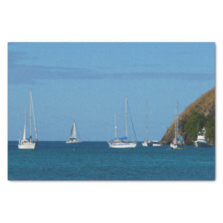 Sailboats in the Bay White and Blue Nautical Tissue Paper