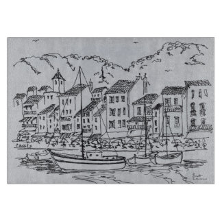 Sailboats in the Harbor   Cassis, France Cutting Board