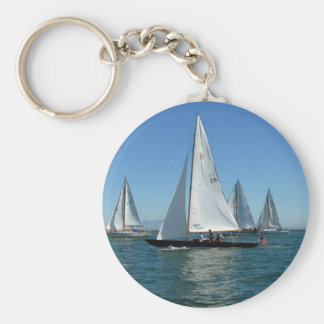 Sailboats in the Harbor Key Ring