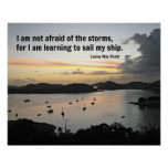 Sailboats in the harbour with quote about storms. poster