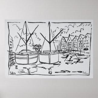 Sailboats | La Vilaine River, Redon, Brittany Poster