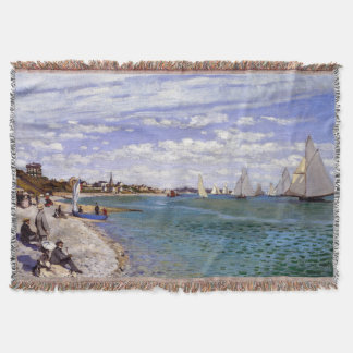Sailboats Monet Regatta Beach Sea Throw Blanket