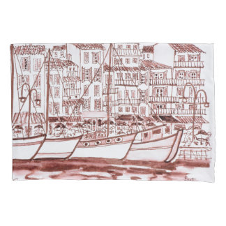 Sailboats Moored in the Harbor | Cassis, France Pillowcase