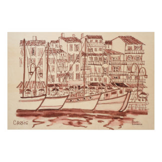Sailboats Moored in the Harbor | Cassis, France Wood Wall Art