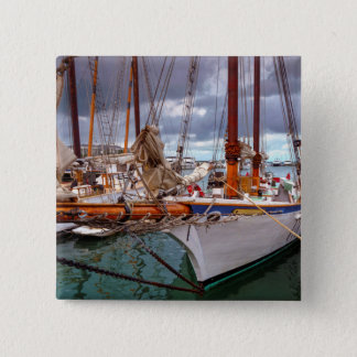 Sailboats Morred At Key West 15 Cm Square Badge