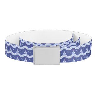 Sailboats On A Striped Sea Pattern Belt