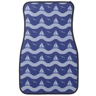 Sailboats On A Striped Sea Pattern Car Mat