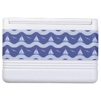 Sailboats On A Striped Sea Pattern Igloo Cool Box