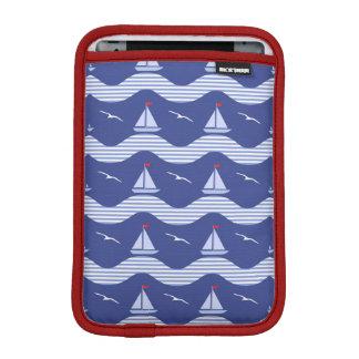 Sailboats On A Striped Sea Pattern iPad Mini Sleeve