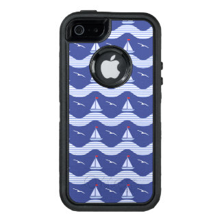 Sailboats On A Striped Sea Pattern OtterBox Defender iPhone Case