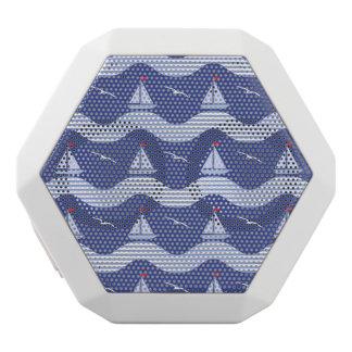 Sailboats On A Striped Sea Pattern White Bluetooth Speaker