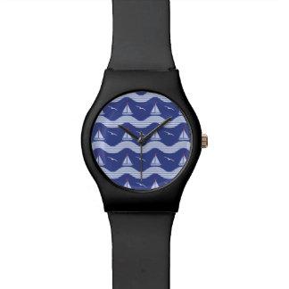 Sailboats On A Striped Sea Pattern Wristwatch