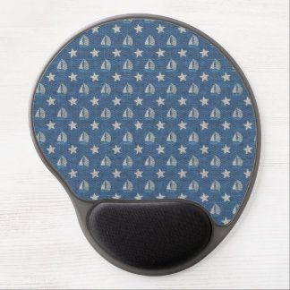 Sailboats on Blue Linen Gel Mouse Pad
