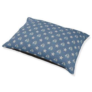 Sailboats on Blue Linen Pet Bed