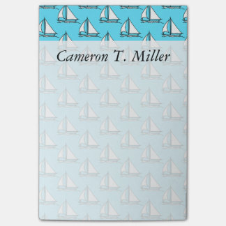 Sailboats On Blue Sea Pattern | Add Your Name Post-it Notes