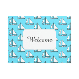 Sailboats On Blue Sea Pattern | Add Your Text Doormat