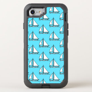 Sailboats On Blue Sea Pattern OtterBox Defender iPhone 7 Case