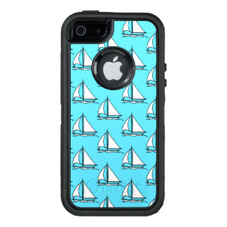 Sailboats On Blue Sea Pattern OtterBox Defender iPhone Case