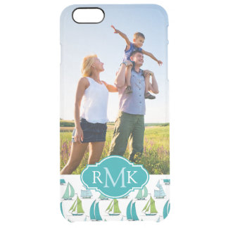 Sailboats On Graph Pattern| Your Photo & Monogram Clear iPhone 6 Plus Case