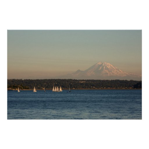 Sailboats On Lake Washington, With Mercer Island Poster