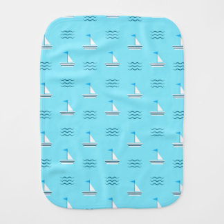 Sailboats On The Blue Sea Pattern Burp Cloth