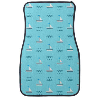 Sailboats On The Blue Sea Pattern Car Mat