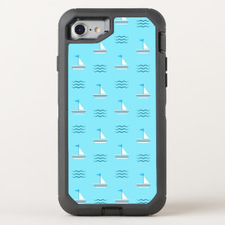 Sailboats On The Blue Sea Pattern OtterBox Defender iPhone 7 Case