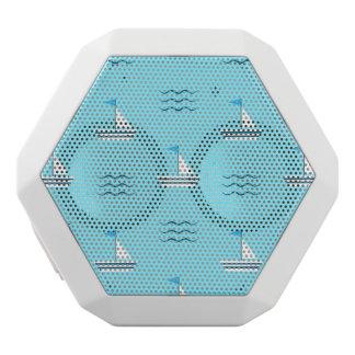 Sailboats On The Blue Sea Pattern White Bluetooth Speaker
