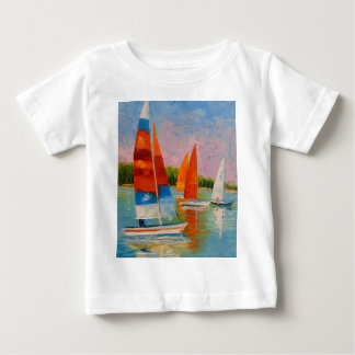 Sailboats on the river baby T-Shirt