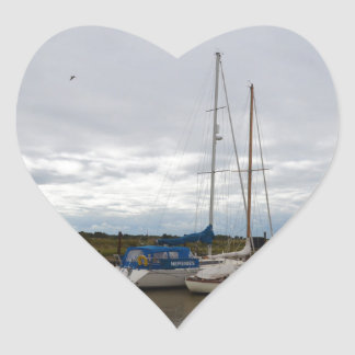 Sailboats On The River Blythe Heart Sticker