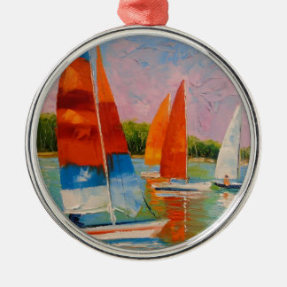 Sailboats on the river christmas ornament
