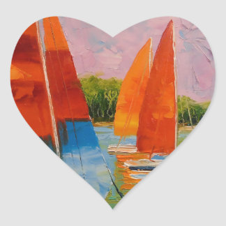 Sailboats on the river heart sticker