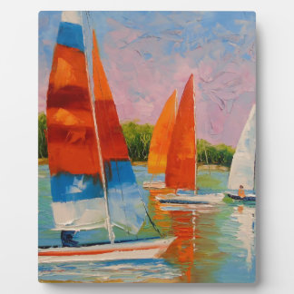 Sailboats on the river plaque