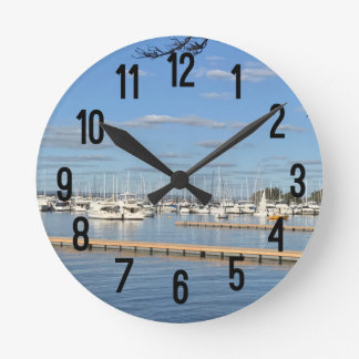 Sailboats on the River Round Clock